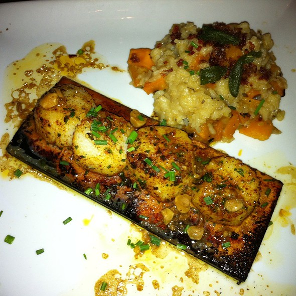 Plank-Grilled Georges Bank Scallops & Butternut Squash Risotto