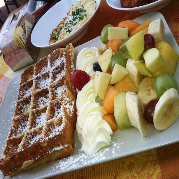 Belgian Waffle With Whipped Cream & Mixed Fruit @ Belga Cafe