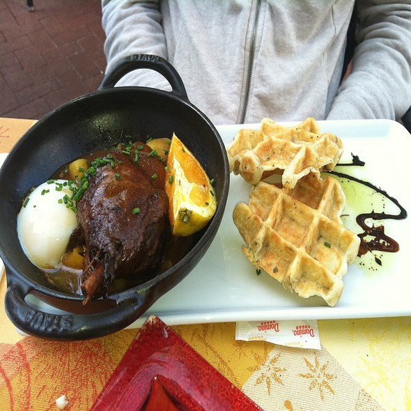 Confit Duck With Sage Waffles And Poached Egg - Belga Cafe, Washington, DC