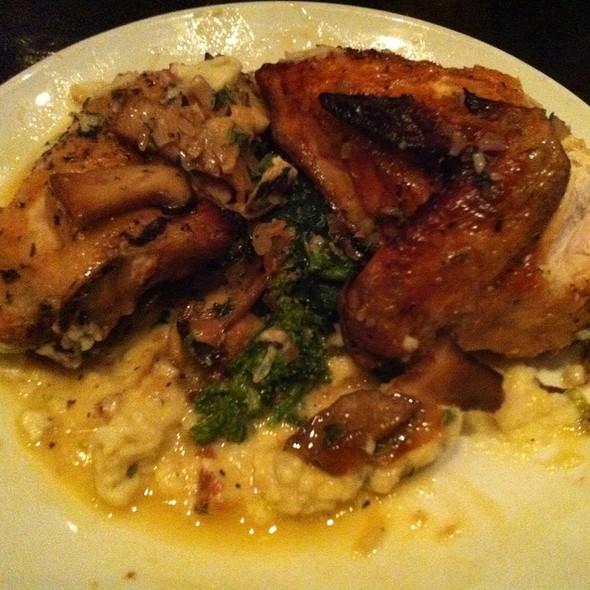 Roasted Chicken With Broccoli Rabe, Garlic Mash, And Wild Mushroom Jus @ Varga Bar