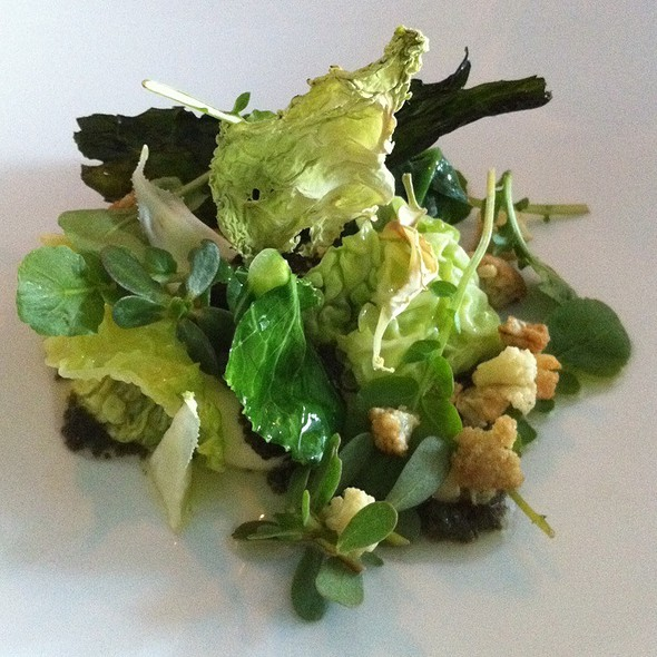 Various Brassicas With Potato, Lemon And Seaweed Vinaigrette @ Commis