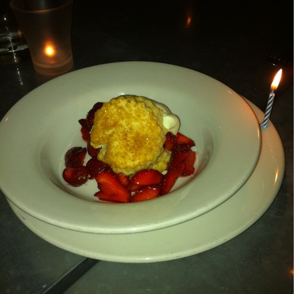 Strawberry Shortcake w/ rose geranium cream @ Range Restaurant
