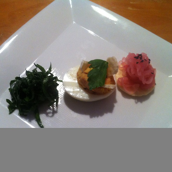 Smoked salmon salad deviled egg @ Supper Club by Sean Welker