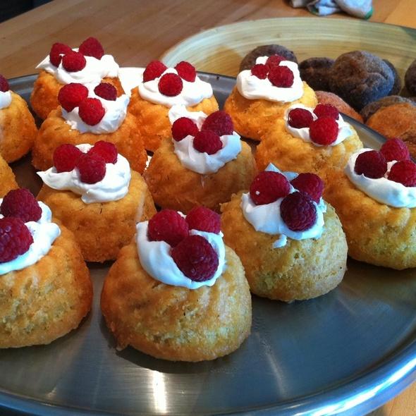 Almond Cakes with Creme Fraiche & Raspberries @ Scratch
