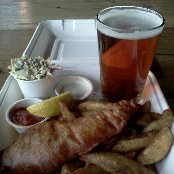1pc salmon and chips with a local draft for 13.50! @ Joe's Seafood Bar