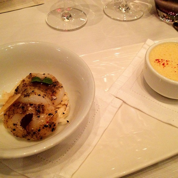 Royal-Style Warm Sea Urchins, Slice Scallops With Crispy Celery & Truffle