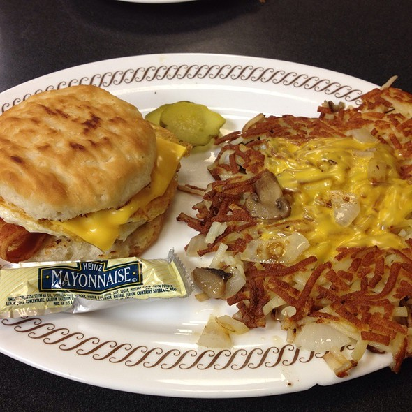 Bacon Egg & Cheese Biscuit And An Order Of Hashbrowns - Smothered, Covered, And Capped! @ Waffle House