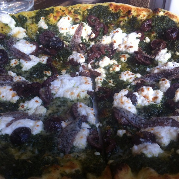 Pesto Pizza With Olives And Anchovies @ Bar Toto Restaurant