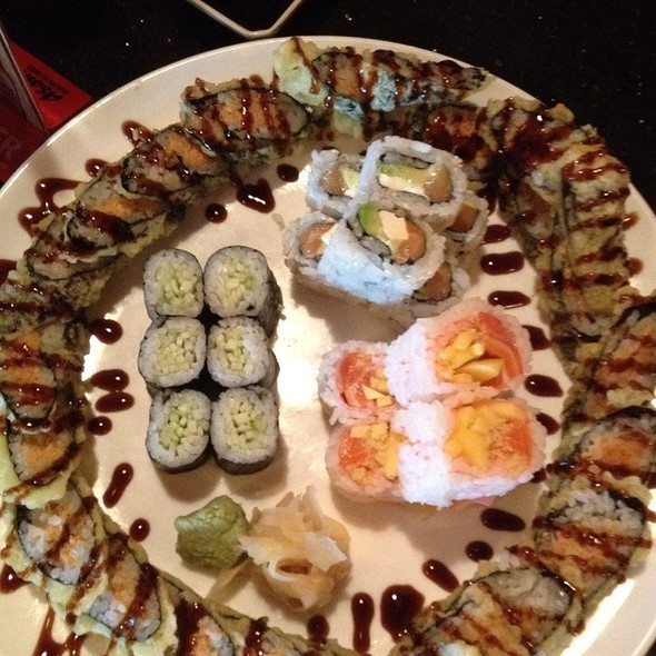 Spicy Tuna Tempura Roll, Philidelphia Roll, Queen Of Fish Roll, Cucumber Roll.  @ Tengu Japanese Steakhouse