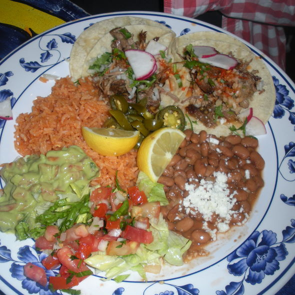 Carnitas Taco Plate @ El Metate Restaurant