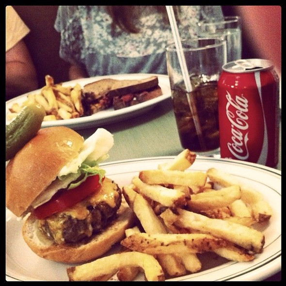 burger and fries @ Save On Meats Diner