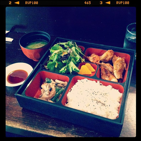 gyoza bento box, $9. good rec, @kn0thong! @ Hibino