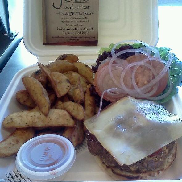 Joe's half pound dirty burger with fries! @ Joe's Seafood Bar