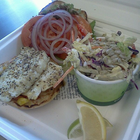 Grilled halibut burger and coleslaw  @ Joe's Seafood Bar