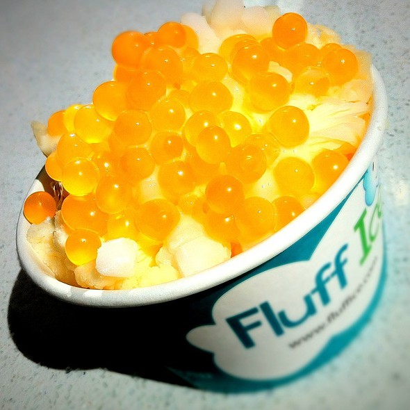 Peach Fluff Ice w/ Passion Fruit Popping Boba, & Mochi  @ Fluff Ice