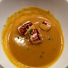 Pumpkin Soup With Homemade Marshmallows - Sotto Sopra, Baltimore, MD