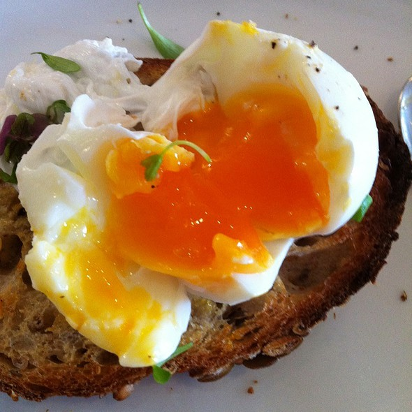 Poached eggs with sourdough toast @ Collective Espresso