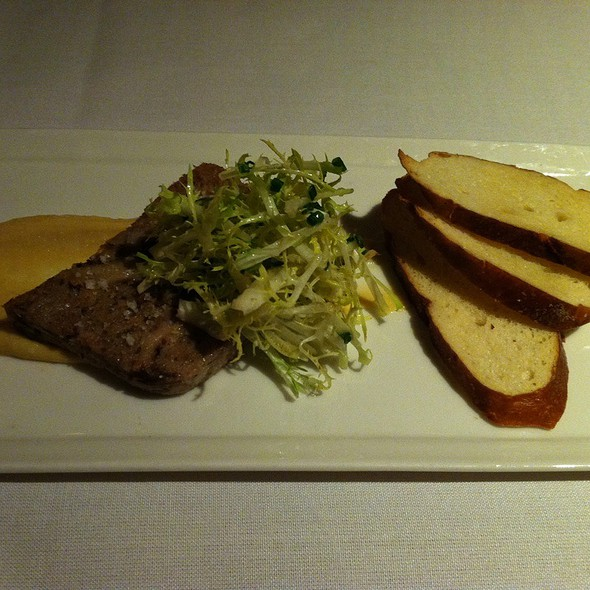 Pork Terrine: Baby Frisée, Apple Tarragon Vinaigrette, Pretzel Bread Crosstini, & Roasted Garlic Dijon @ Barking Frog