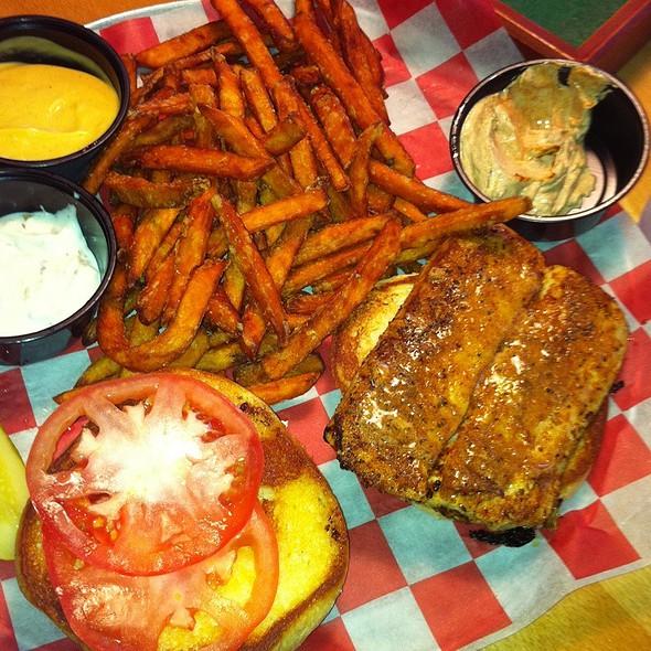 Blackend Mahi Sandwich With Sweet Potatoe Friea @ Two Guys Grille Waterford