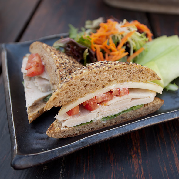 Turkey Sandwich with Fresh Basil, Tomato, & Gruyere - Samovar Tea Lounge - Yerba Buena Gardens, San Francisco, CA