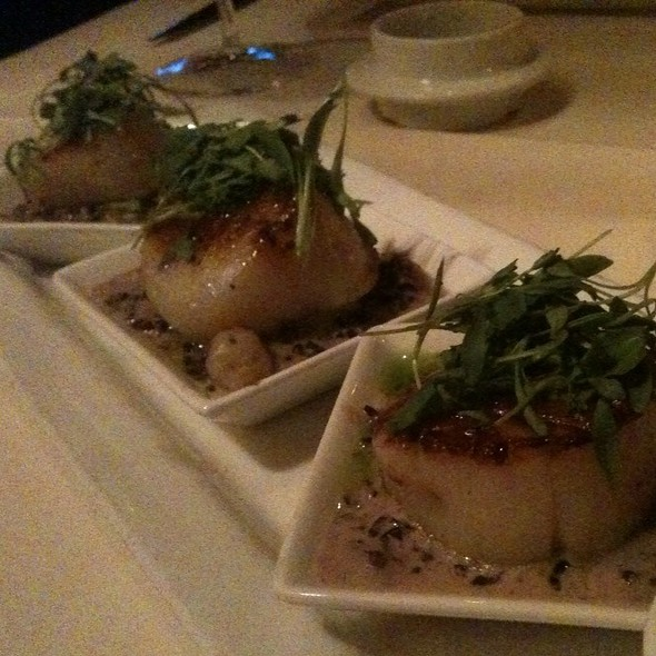 Seared Sea Scallops, Maine crab & fennel risotto, truffle vinaigrette, crisp shallots - Cork Tree Restaurant, Palm Desert, CA