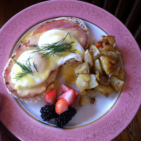 Classic Eggs Benedict, Local Farm-Raised Candian Bacon And Crispy Potatoes - Catherine's Restaurant, Kennett Square, PA