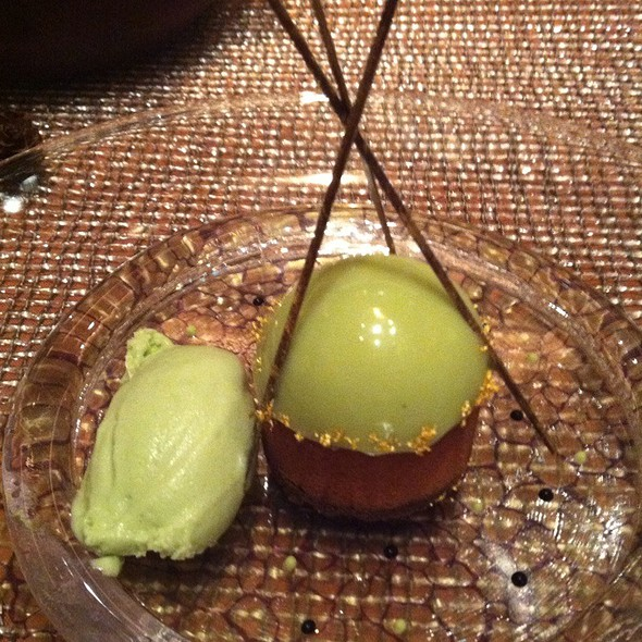 Le Mikado - Caramel Chocolate Mousse With Poppy Seeds Crumble, Sicilian Pistachios Dome - Joel Robuchon - MGM Grand, Las Vegas, NV