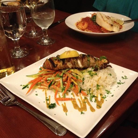 Grilled Salmon With Creamy Dijon Sauce And Potato Waffer - Marco Polo's @ The Viana Hotel & Spa, Westbury, NY