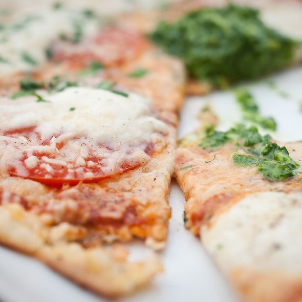 Pesto and Tomato Pizza - FARMbloomington, Bloomington, IN