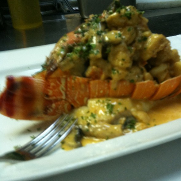 Brazilian Lobster Tail Stuffed With Shrimp & Mushroom In A Mornay Sauce - Vittorio's Restaurant & Wine Bar, Amityville, NY