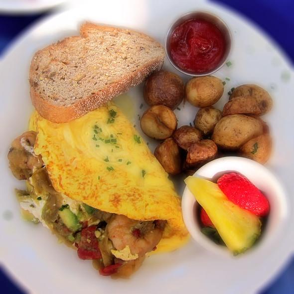 shrimp, goat cheese & avocado omelette - Novo Restaurant, San Luis Obispo, CA