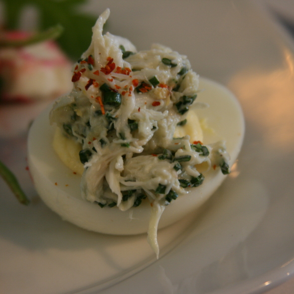 Deviled egg with crabmeat - Noah's, Greenport, NY
