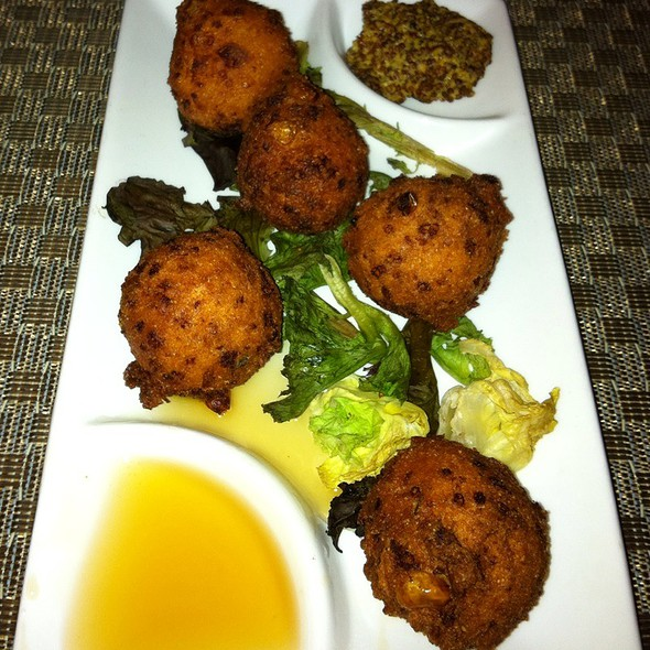 Corn Fritters With Honey And Stone Ground Mustard - Liberty Tavern, Omaha, NE