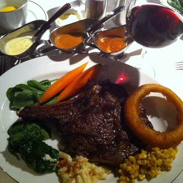Cowboy Ribeye Steak W/Onion Rings, Caramelized Corn, Macaroni & Cheese, Sauteed Spinach - Arroyo Chop House, Pasadena, CA