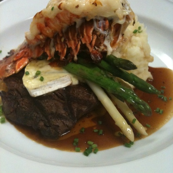 Bourbon Soaked Beef Tenderloin, Riasted Garlic Mash, Asparagus, Lobster Tail - Cannery Restaurant, Niagara-on-the-Lake, ON