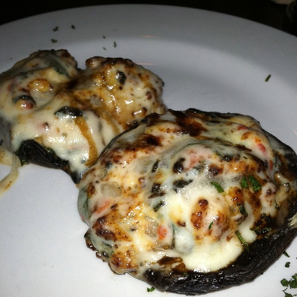 """Stuffed Portabellas"" With Fresh Baby Spinach, Roasted Red Peppers And 1/4  Lb Of Crabmeat, Topped With Fine Herbs And Cheeses - Pescatores Restaurant, Glen Mills, PA"