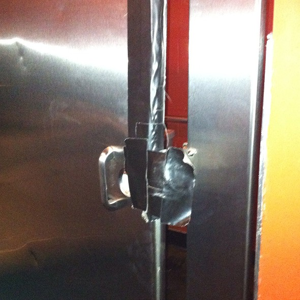 Duct Tape Bathroom Lock  - Ballard Loft, Seattle, WA