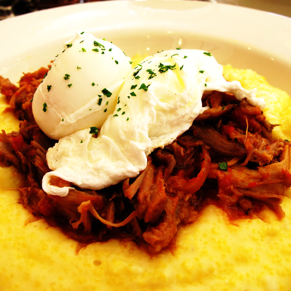 pulled pork over polenta with poached eggs - Caffe Delucchi, San Francisco, CA