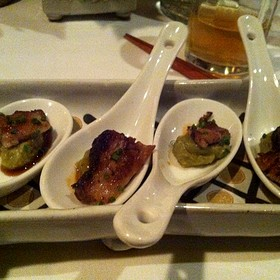 5-Spice Pork Belly With Guacamole And Teriyaki - Wolfdale's Cuisine Unique, Tahoe City, CA