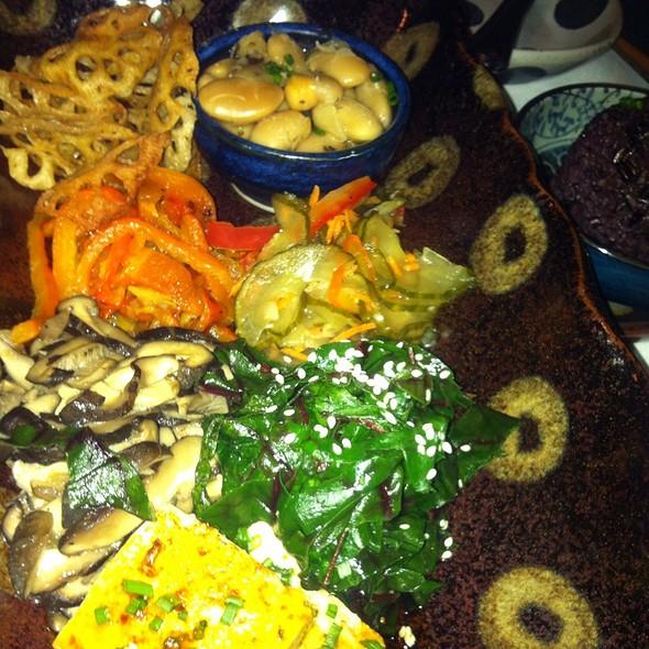 Zen Plate: Lotus Root Spinach Tofu Mushrooms - Wolfdale's Cuisine Unique, Tahoe City, CA