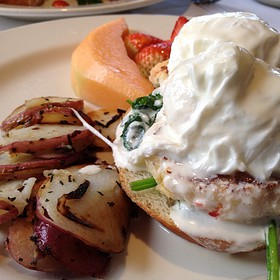 Maryland Crabcakes & Poached Eggs - Il Fornaio - Carmel, Carmel, CA