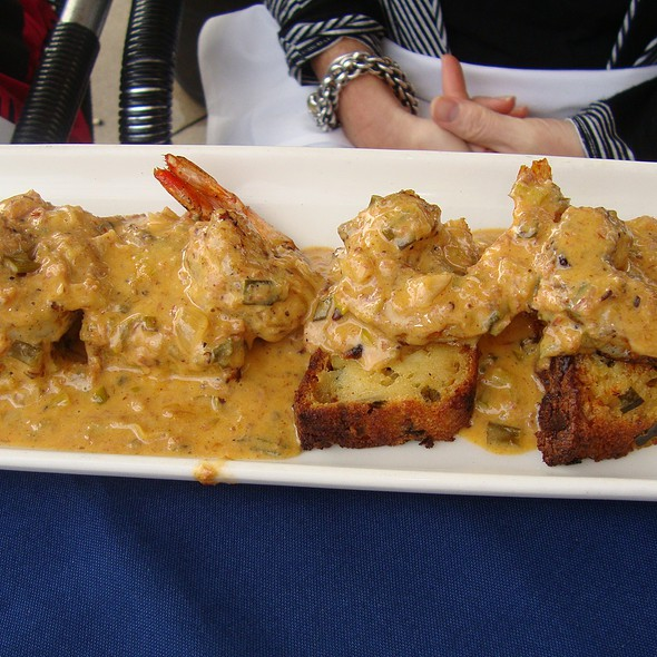 Grilled Shrimp over Crabmeat Cornbread topped w/ Tasso Cream - Ibiza Food and Wine Bar, Houston, TX