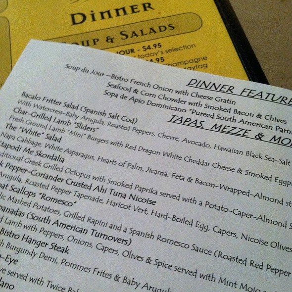 Menu - Bistro B + Wine Bar, Kernersville, NC