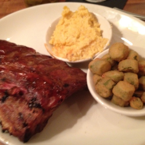 Baby Back Ribs, Bacon Chees Grits And Fried Okra - The Pit Authentic BBQ, Raleigh, NC