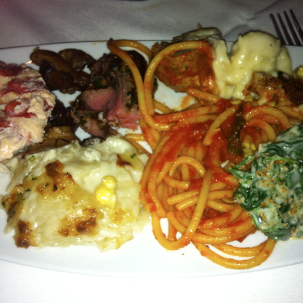Filet, Lobster, Spaghetti Meatball, Truffle Mac, Au Gratin, Cream Spinach, Corn.  - Red, the Steakhouse - Miami Beach, Miami Beach, FL