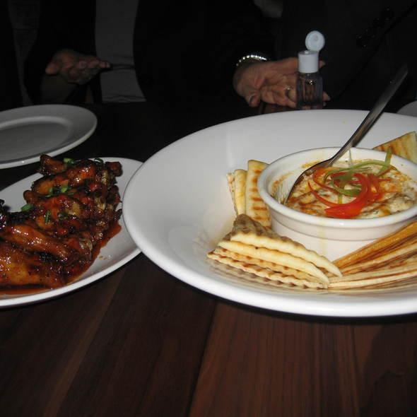 Grilled lobster & blue crab dip, spicy red curry lime chicken drumettes - Veneto Kitchen + Bar, Victoria, BC
