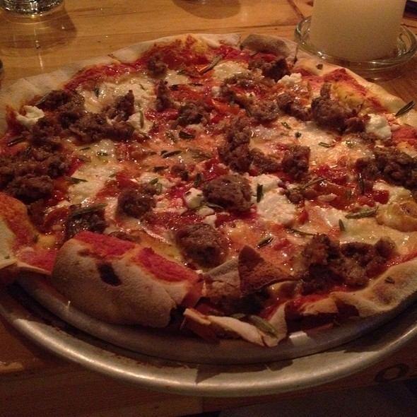 Goat Sausage And Goat Cheese Pizza - Osteria Via Stato, Chicago, IL