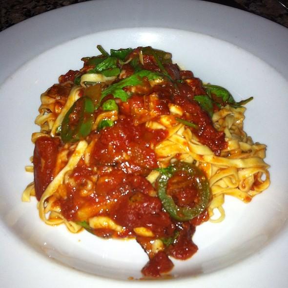"Tagliolini "" Pepati "", Garlic, Smoked Bacon, Jalapeno, Roast Tomato Sauce, Arugula, Butter, Pecorino, Grana Cheeses - Aperto, San Francisco, CA"