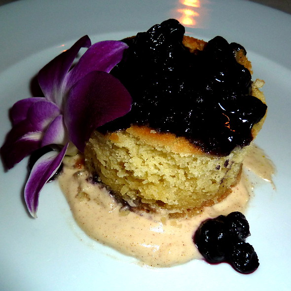Almond Cake with Blueberry Topping and a Cinnamon Zabaglione - Siroc Restaurant, Washington, DC