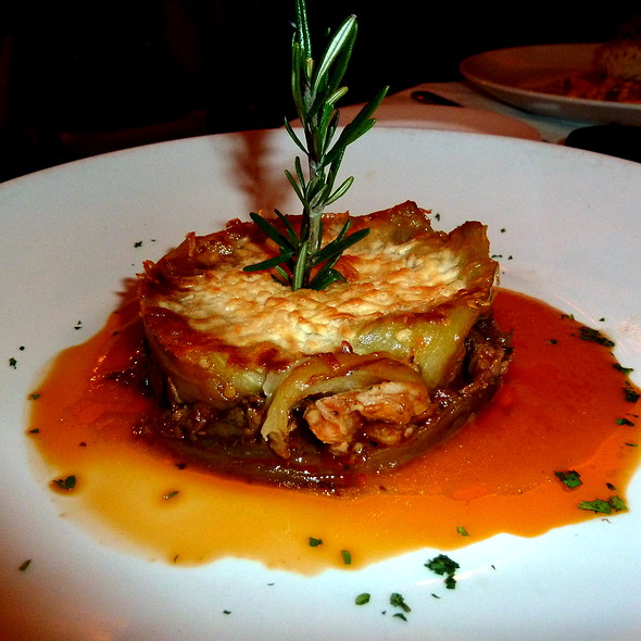 Roasted Eggplant layered with Braised Lamb Shank - Siroc Restaurant, Washington, DC